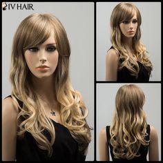 $82.34 Fluffy Long Oblique Bang Colormix Wavy Siv Human Hair Wig