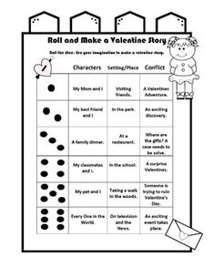 Roll the Dice and Make a Valentines Story Valentines Writing Prompts, Roll A Story, 2nd Grade Writing, Reading Intervention, Speech Therapy Activities, Cool Writing, Writing Workshop, Teaching Writing, Story Story