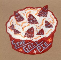 'Star Gazy Pie' by Jonny Hannah from the 'Loomings, Coffin & Scrimshaw' suite of 16 screenprints Food Illustrations, Illustration Art, Collagraph, Royal College Of Art, Freelance Illustrator, All Art, Letterpress, Food Art, Screen Printing