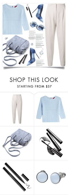 """""""Blue Tones"""" by tamara-p ❤ liked on Polyvore featuring MaxMara, HUGO, Chantecaille, Pinko, Skagen and Movado"""