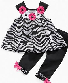 Rare Editions Baby Set, Baby Girls 2 Piece Flocked Legging Set