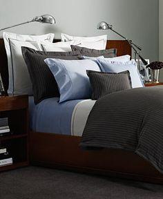 Ralph Lauren Gray Haberdashery Pinstriped Full/Queen Duvet - Bedding Collections - Bed & Bath - Macy's