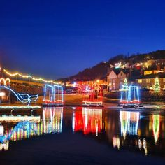 Christmas lights in Mousehole Cornwall #ChristmasLights #MouseholeCornwall #Mousehole #Cornwall #HeathrowGatwickCars.com