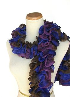 Hand Knit Ruffled Scarf  Blue Brown Purple by ArlenesBoutique, $33.00