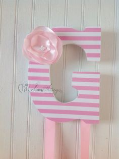 """9"""" Custom Bow Holder, Custom Letters, Personalized Letters, Decoupage Letters, Childrens Letter Bow Holder Fabric Flower, baby shower gifts on Etsy, $30.00"""