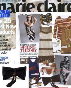 (Feb 2012) Marie Claire: The tribe has spoken... Animal stripes & earthy neutrals are key to a stylish survival this Spring featuring the CC Skye Luxe Riviera Suede Wrap Clutch.