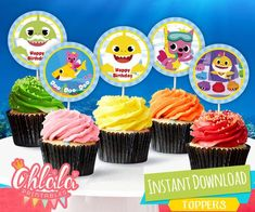 Zoe's birthday pary Baby Boy First Birthday, 2nd Birthday Parties, Shark Cupcakes, Happy Shark, Shark Party Decorations, Partys, Free Baby Stuff, First Birthdays, Churro