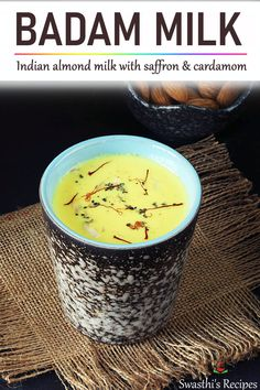 Badam milk is a traditional Indian ayurvedic drink made with almonds, milk, cardamoms & sugar. Serve badam milk warm during winters & chilled during summers. Indian Dessert Recipes, Indian Sweets, Indian Snacks, Indian Recipes, Milk Recipes, Sweets Recipes, Beef Recipes, Cooking Recipes, Healthy Recipes