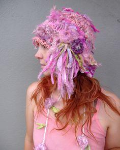 handspun handknit shades of pink recycled sari silk  and merino hat by plumfish