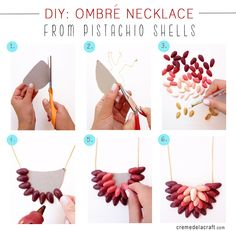 DIY - Make an ombre necklace from pistachio shells
