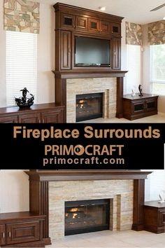 Tv fireplace surround entertainment center wall unit · handcrafted quality home entertainment furniture is our specialty! choose any configuration or layout Custom Fireplace, Fireplace Mantle, Fireplace Surrounds, Entertainment Center Wall Unit, Home Entertainment Furniture, Flat Panel Tv, Room Colors, Layout, The Unit