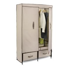 Honey-Can-Do® Double Door Cloth Storage Wardrobe with Drawers boasts a steel frame and hanging rod. Dual fabric drawers provide concealed storage for folded items and essentials and the double doors have integrated storage pockets.