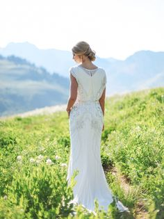 Beaded modest wedding dress from Alta Moda.  Photo by Tessa Barton