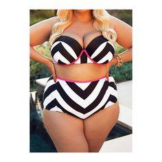 Chevron Print Plus Size Two Piece Swimwear (195 SEK) ❤ liked on Polyvore featuring swimwear, bikinis, white, plus size bikini, print bikini, striped bikini, 2 piece bikini i white bikini