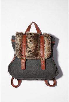 Fur trimmed backpack, $68