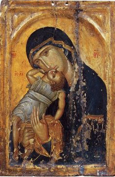 "Orthodox icon of Theotokos ""of The Sea"", ""Pelagonitissa"", icon of early 15th cent."