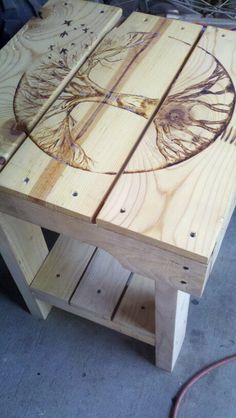 $50.00 homemade /call Jon 916-599-0792 Pallet Furniture For Sale, Homemade Tables, Woodburning, Home Decor, Decoration Home, Wood Burning, Room Decor, Pyrography, Home Interior Design