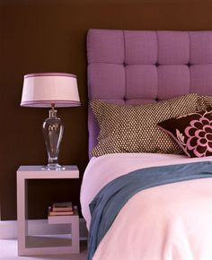 interior, side tables, color schemes, colorful rooms, chocolate brown, night stands, upholstered headboards, purple bedrooms, upholstered beds