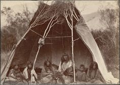 Family encamped near the head of Medicine Lodge Creek in Idaho; husband, wife, and five children sit under a partially covered tipi.  Culture/People:    Sheep Eater Shoshone  Date created:    June 11, 1871  Photographer:    attributed to William Henry Jackson, Non-Indian, 1843-1942
