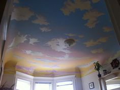 my friend Ben painting my ceiling beautiful sky painted on the ceiling Sky Ceiling, Ceiling Murals, Bedroom Ceiling, Paint Ceiling, Faux Painting, Mural Painting, New Project Ideas, Princess Room, Ceiling Medallions