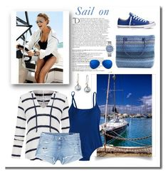 """Sail on"" by terry-tlc ❤ liked on Polyvore featuring Balmain, Splendid, J.Crew, rag & bone/JEAN, Converse, GUESS, Matthew Williamson and Chart Metal Works"