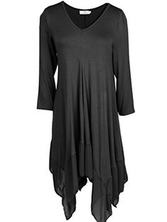 Women Asymmetrical Black Loose Long Sleeve Shirt Dress ** See this great product.Note:It is affiliate link to Amazon.