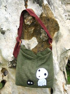 "Princess Mononoke KODAMA Hip / Shoulder Bag Thai Cotton 3. KODAMA (tree spirite) Hand make cotton shoulder bag from Studio Ghibli anime ""Princess Mononoke"". Width of pouch: 15"". Height of pouch: 16.5"". Length of bag including strap: 30"". $24.00 #bad #ghibli"