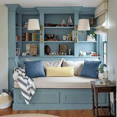 Country Living Magazine's photo: A cozy reading corner with a built-in daybed and bookshelves. Color Palette For Home, Built In Daybed, Cozy Reading Corners, Reading Nooks, Country Living Magazine, Georgian Homes, Cozy Nook, Cosy, Cozy Corner