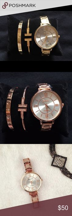 Watch and Bracelets Bundle This listing includes a New Beautiful Geneva Watch and Two Gorgeous Bracelets.     Watch details: Stainless Steel; Band Width is 10mm to 19mm; Dial meter is 3.8cm; Clasp Closing. Accessories Watches