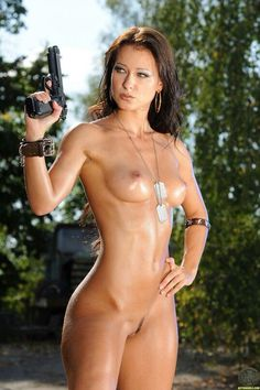 Casually found nude girl with pistol