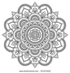 Imagens, fotos stock e vetores similares de Circular pattern in form of mandala for Henna, Mehndi, tattoo, decoration. Decorative ornament in ethnic oriental style. Coloring book page. Henna Mehndi, Henna Tatoo, Henna Tattoo Muster, Mehndi Flower, Henna Art, Tattoo Mandala Feminina, Tattoos Mandala, Mandala Tattoo Design, Henna Mandala