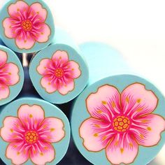 Pink Cherry Blossom Flower polymer clay millefiori cane -Only 1 cane left