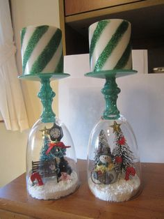 Christmas Candle Holder Snow Globes. These are so easy to make. Visit the Dollar Store for everything you will need. I love these! <3