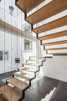 Modern Stairs // wood and metal stairs at the JA House / Filipi Pina + Maria Ines Costa Architecture Design, Stairs Architecture, Compact House, Modern Stairs, Floating Stairs, Interior Stairs, House Stairs, Stair Railing, Railings