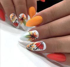 Cute Acrylic Nail Designs, Fall Nail Art Designs, Cute Acrylic Nails, Fall Gel Nails, Autumn Nails, Nail Swag, Seashell Nails, Pop Art Nails, Anime Nails