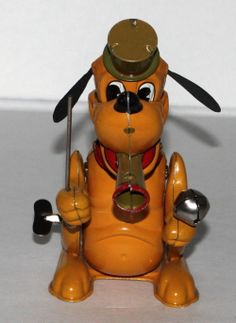 "EX DISNEY1950's ""Pluto The Drum Major"" Tin Wind Up Toy Horn Bowing Function WOW 