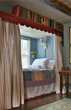 Colorful & Cozy: Gosherd Valley Cottage in Missouri - Hooked on Houses Love the built-in beds Connie added where a window seat used to be. Colorful & Cozy: Gosherd Valley Cottage in Missouri - Hooked on Houses Alcove Bed, Bed Nook, Cozy Nook, Cozy Bed, Home Bedroom, Bedroom Decor, Bedroom Ideas, Sleeping Nook, Sleeping Porch