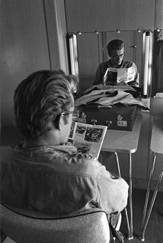James Dean the Giant reading a magazine