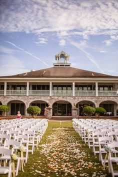 A Lovely Southern Wedding at Dunes West Golf Club in South Carolina the garden set up for the ceremony