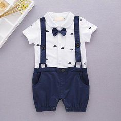 6a4b8f05f Retail Baby Boys Gentleman Rompers anchor Print Summer One Piece Short  Sleeve Jumpsuits Overalls Clothing Toddler Clothes