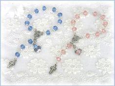2 Taufrosenkranz, Zwillinge, mit Engel, rosa blau von Alpen-Juwel auf http://de.dawanda.com/product/80564475-2-Taufrosenkranz-Zwillinge-mit-Engel-rosa-blau