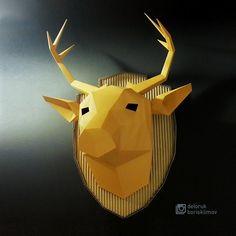 Deer!  Finally ready to send these to @experimentarium_kz My cooperation project with @deloruk  Олень! Скоро в продаже в @experimentarium_kz Мой совместный проект с @deloruk  #cardboardart #cardboard #papercraft #paper #art #head #deer #lowpolyart