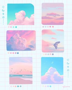 cloud studies from the other day. ⁣⁣⁣⁣ ⁣⁣⁣⁣ These past few weeks… Cute Canvas Paintings, Mini Canvas Art, Arte Do Kawaii, Kawaii Art, Aesthetic Art, Aesthetic Anime, Minecraft Banner Designs, Palette Art, Digital Art Tutorial