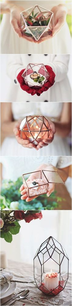 Handmade Geometric Glassware / Glass Geometric Candle Holder / Wedding Candles / Wedding Lights / Geometric Ring Bearer Box / Glass Ring Pillow / Wedding Ring Box