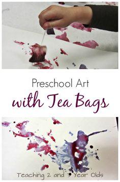 preschool art with tea bags