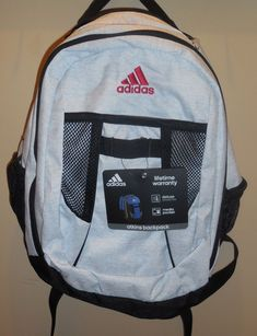 Adidas Atkins Backpack Bookbag Light Grey Black Boys Girls New School   eBay 233da60453