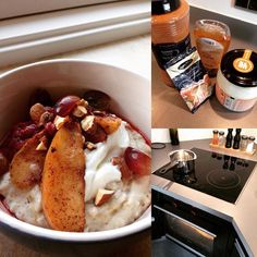 On a cold morning oatmeal on almondmilk and topped with baked apples with cinnamon cardamom honey coconutoil and and then topped with strawberry compote curd and crushed almonds.. I LIKE  #bodybuildingcom #wellness #inabudhabi #greensmoothie #noregrets #s