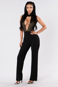 - Available in Black, Black/Gold, and Nude - Choker Neck - Deep V Neckline - Mesh Contrast - Wide Leg - Made in USA - 95% Polyester 5% Spandex