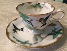 Lefton China Hand Painted Hummingbirds Bone China Tea Cup & Saucer E2167