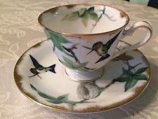 Lefton China Hand Painted Hummingbirds Bone China Tea Cup & Saucer E2167